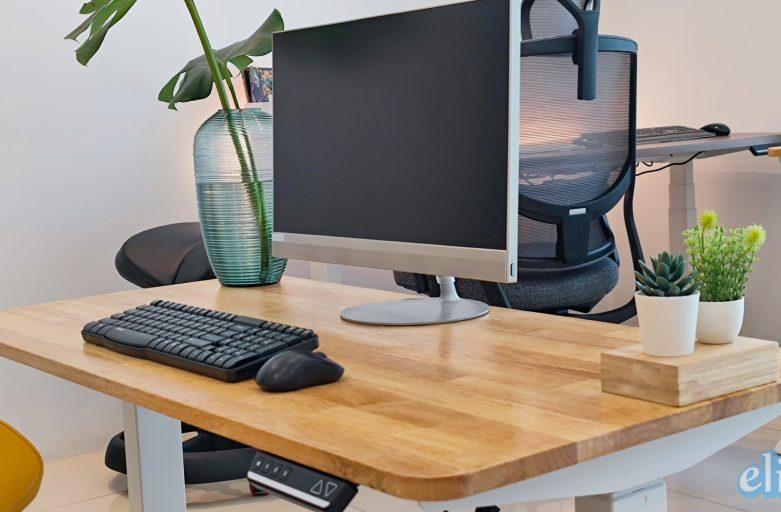 โต๊ะสุขภาพ หน้าไม้ยาง / Raise3 RealWood Rubber Wood รูปสวยๆใช้งานจริง โต๊ะสุขภาพปรับไฟฟ้า