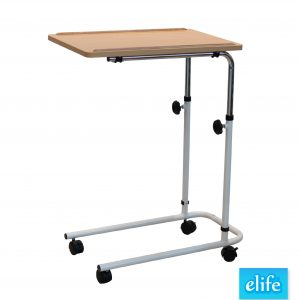 โต๊ะคร่อมเตียงผู้ป่วย มีกันตก พื้นไม้ อีไลฟ์รุ่น ET-770
